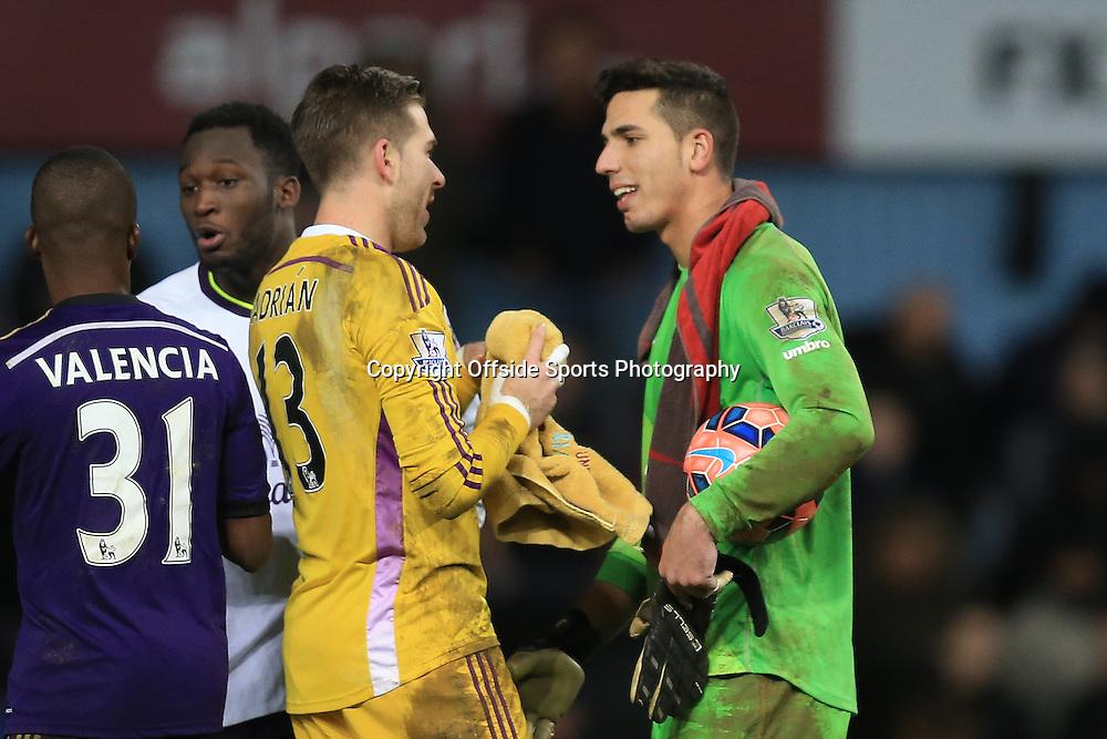 13 January 2015 - The FA Cup 3rd Round (Replay)  - West Ham v Everton - Adrian of West Ham with Joel Robles of Everton at full time - Photo: Marc Atkins / Offside.