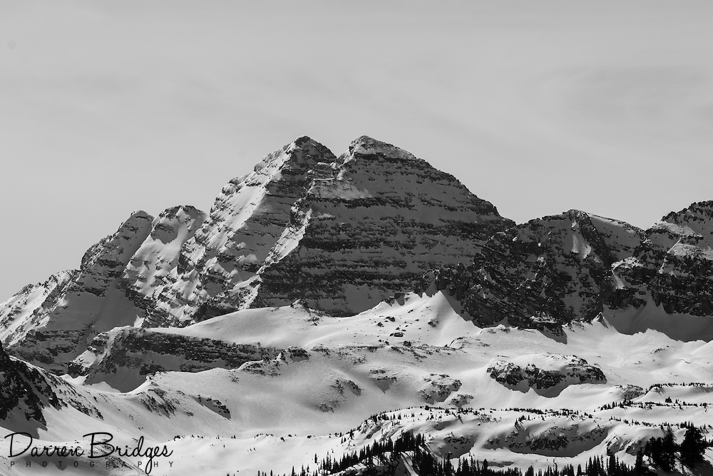 The Maroon Bells are two 14,000ft peaks in the Elk Mountains, separated by about a third of a mile. The mountains are about 12 miles southwest of Aspen.
