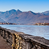 Beautiful italian lake front walk near Stresa, Lake Maggiore, Italy