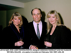 Left to right, KIM, LADY KENNILWORTH, designer AMANDA WAKELEY and her husband MR NEIL GILLON,  at a party in London on February 13th 1997.LWL 39
