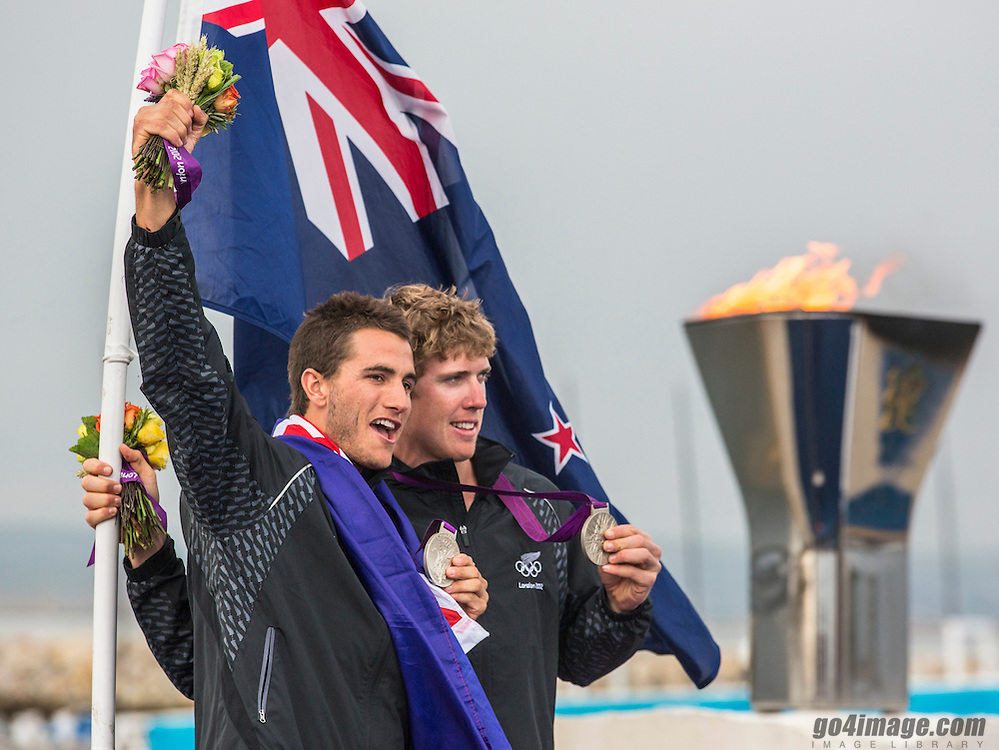 SILVER:<br /> Burling Peter, Tuke Blair, (NZL, 49er)<br /> <br /> 2012 Olympic Games <br /> London / Weymouth