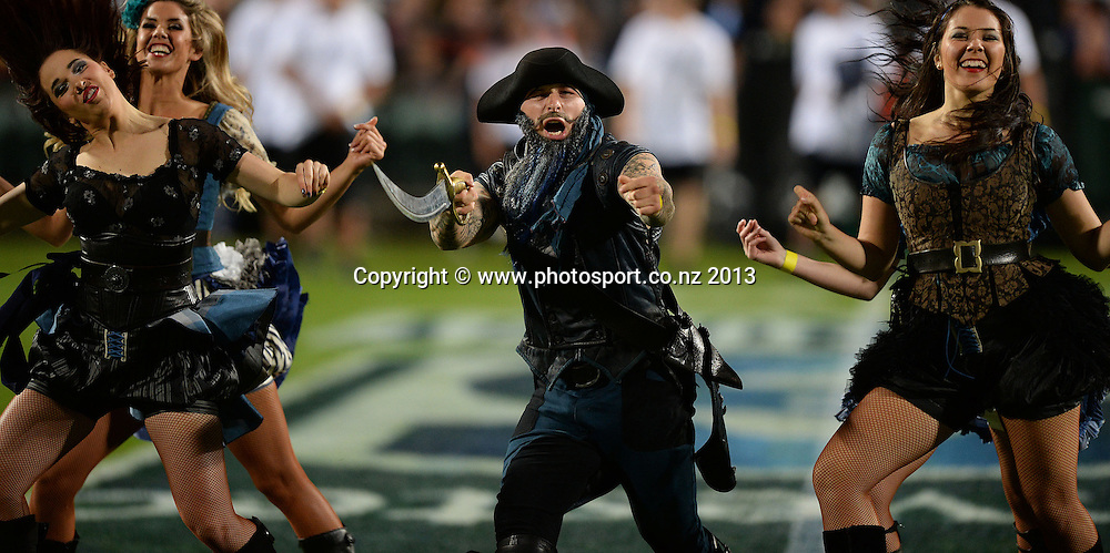 Captain Bluebeard and his Dancers.  Blues v Stormers. Investec Super Rugby Season. North Harbour Stadium, Albany, Auckland, New Zealand. Friday 3 May 2013. Photo: Andrew Cornaga/Photosport.co.nz