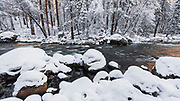 The Merced River in winter, Yosemite National Park, California USA