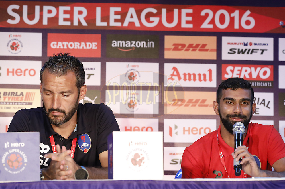 Delhi Dynamos FC coach Gianluca Zambrotta and Kean Francis Lewis of Delhi Dynamos FC during press conference after match 6 of the Indian Super League (ISL) season 3 between Chennaiyin FC and Delhi Dynamos FC held at the Jawaharlal Nehru Stadium in Chennai, India on the 6th October 2016.<br /> <br /> Photo by Arjun Singh / ISL/ SPORTZPICS
