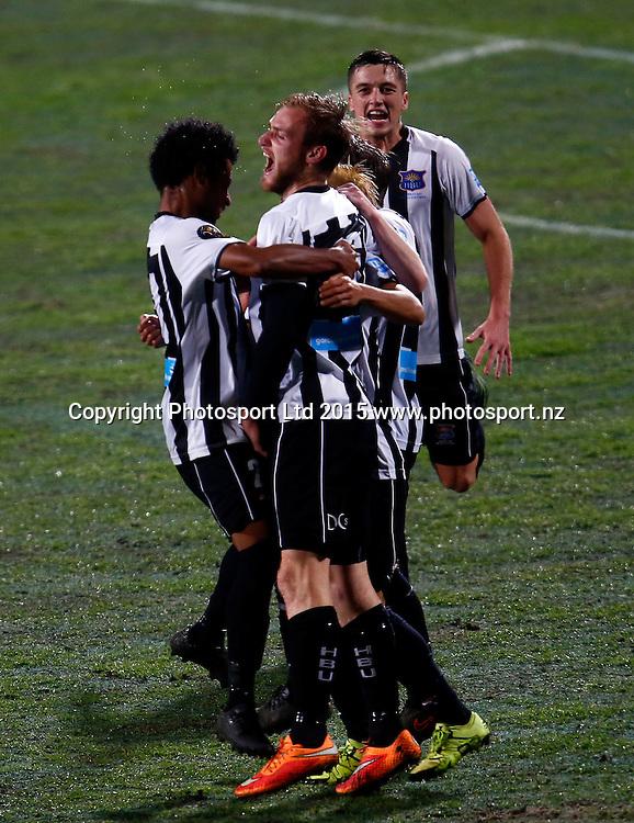 Hawkes Bay celebrate Hawkes Bay's Kohei Matsumoto's goal. ASB Premiership, Round One, Auckland City FC v Hawkes Bay United, QBE Stadium Auckland, Thursday 12th November 2015. Copyright Photo: Shane Wenzlick