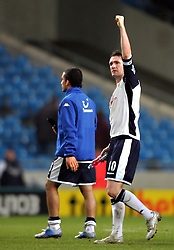 MANCHESTER, ENGLAND - WEDNESDAY, JANUARY 4th, 2006:Tottenham Hotspur's Robbie Keane celebrates the victory 2-0 over Manchester City during the Premiership match at the City of Manchester Stadium. (Pic by David Rawcliffe/Propaganda)