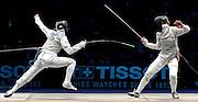 © Filippo Alfero<br /> Torino, 01/10/2006<br /> Sport, Scherma<br /> Mondiali di Scherma 2006 - Torino - Fioretto femminile <br /> Nella foto: un momento della finale Granbassi (ITA) - Vezzali (ITA)