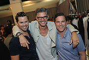 Model and actor Eric Rutherford, center, poses with actors Andrew Rannells, left, and Mike Doyle, after the Todd Snyder Spring 2017 fashion show, which featured the new Timex Mod Watch, Thursday, July 14, 2016, at New York Fashion Week: Men's.  (Diane Bondareff/AP Images for Timex)
