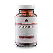 """Bottle of Better Life Basics """"Luv Your Colon"""" natural supplements."""