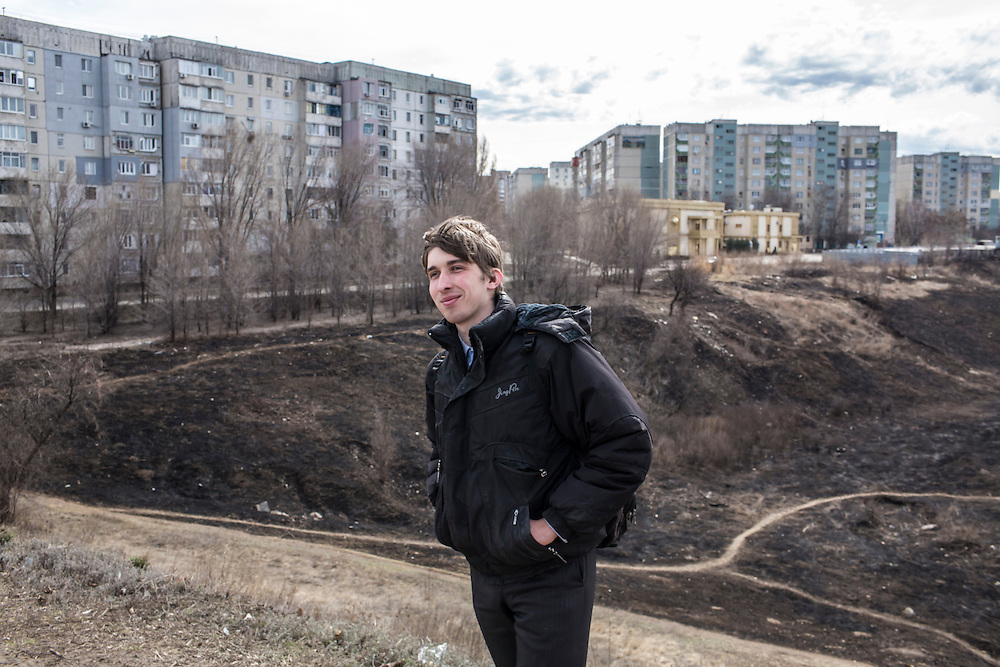 LUHANSK, UKRAINE - MARCH 15, 2015: Pavel Pavlov in the Mirny neighborhood where he lives in his mother's apartment in Luhansk, Ukraine. CREDIT: Brendan Hoffman for The New York Times