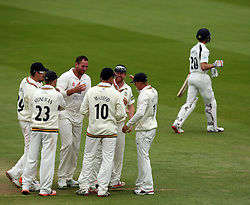 Durham celebrates the wicket of Middlesex's Josh Simpson - Photo mandatory by-line: Robbie Stephenson/JMP - Mobile: 07966 386802 - 04/05/2015 - SPORT - Football - London - Lords  - Middlesex CCC v Durham CCC - County Championship Division One