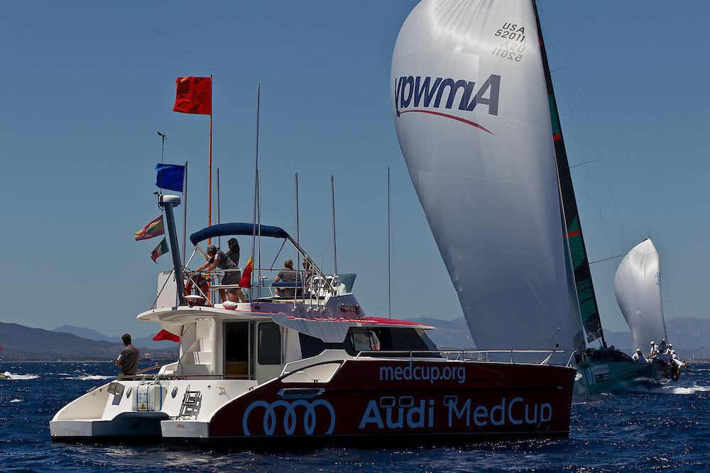 ITALY, Sardinia, Cagliari. 21st July 2011. AUDI MedCup, Region of Sardinia Trophy.  TP52, Quantum Racing approaches the finish.