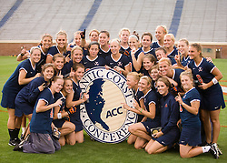 The University of Virginia Women's Lacrosse team celebrates their third consecutive Atlantic Coast Conference championship.  The #3 ranked Virginia Cavaliers defeated the #2 ranked Maryland Terrapins 10-9 in overtime in the finals of the Women's 2008 Atlantic Coast Conference Lacrosse tournament at the University of Virginia's Scott Stadium in Charlottesville, VA on April 27, 2008.