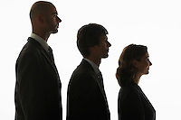 Businesspeople standing in row in height order profile