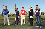 Gautam Gambhir captain of the Kolkata Knight Riders and George Bailey of the Kings X1 Punjab at the toss during match 15 of the Pepsi Indian Premier League 2014 Season between The Kings XI Punjab and the Kolkata Knight Riders held at the Sheikh Zayed Stadium, Abu Dhabi, United Arab Emirates on the 26th April 2014<br /> <br /> Photo by Ron Gaunt / IPL / SPORTZPICS