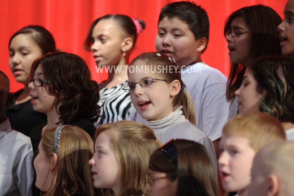 Middletown, NY - Children sing in the chorus at the Mechanicstown Elementary School winter concert on Dec. 9, 2008.