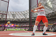 Great Britain, London - 2017 August 07: Anita Wlodarczyk (Skra Warszawa) of Poland competes in women&rsquo;s hammer throw final during IAAF World Championships London 2017 Day 4 at London Stadium on August 07, 2017 in London, Great Britain.<br /> <br /> Mandatory credit:<br /> Photo by &copy; Adam Nurkiewicz<br /> <br /> Adam Nurkiewicz declares that he has no rights to the image of people at the photographs of his authorship.<br /> <br /> Picture also available in RAW (NEF) or TIFF format on special request.<br /> <br /> Any editorial, commercial or promotional use requires written permission from the author of image.