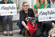 UNITED KINGDOM, London: 07 June 2016 Actress Carrie Fisher shows her support outside the Chinese Embassy earlier today as they join other animal lovers to hand in a petition against China's Yulin dog meat festival. Rick Findler / Story Picture Agency