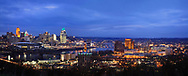A Winter's Eve After Sunset Along The Ohio River Where It Separates Ohio From Kentucky At Cincinnati, USA