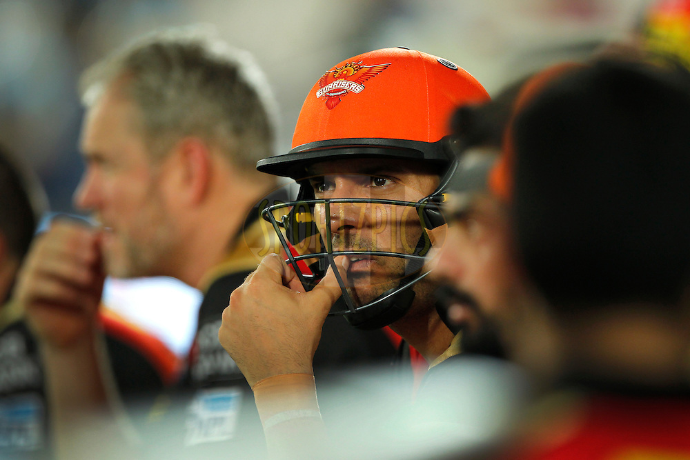 Yuvraj Singh of Sunrisers Hyderabad during match 42 of the Vivo IPL 2016 (Indian Premier League ) between the Sunrisers Hyderabad and the Delhi Daredevils held at the Rajiv Gandhi Intl. Cricket Stadium, Hyderabad on the 12th May 2016<br /> <br /> Photo by Deepak Malik / IPL/ SPORTZPICS