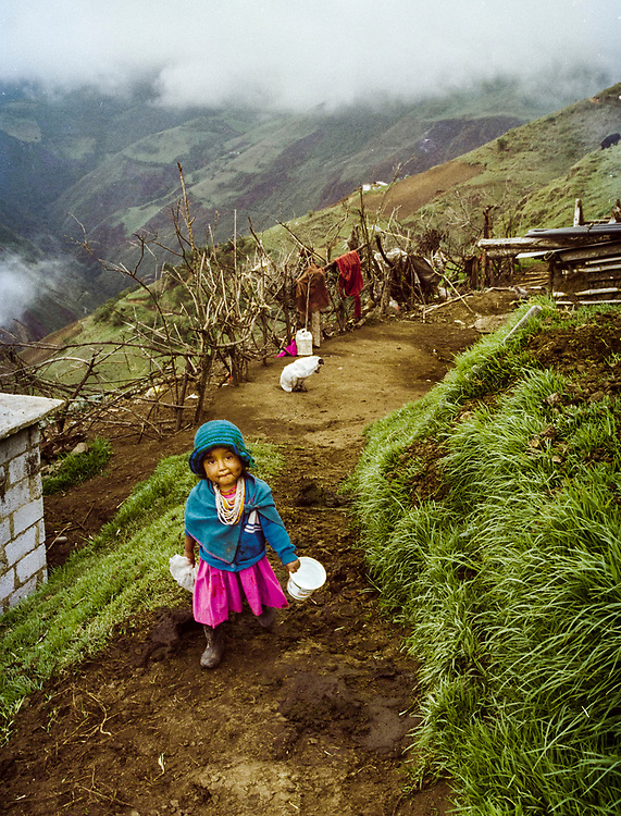 Indian girl in a small village on the western slopes of the Andes in Ecuador