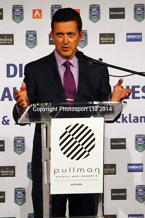 MC Stephen McIvor, NRL Nines, Captains and Coaches Breakfast ahead of the Dick Smith NRL Nines rugby league competition. Pullman Hotel, Auckland. 14 February 2014. Photo: William Booth/www.photosport.co.nz