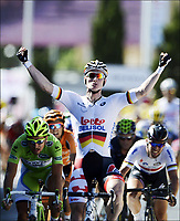 Sykkel , 4. juli 2013 , MONTPELLIER, FRANCE - JULY 4:  Andre Greipel wins the sixth stage of the 2013 Tour de France from Aix-en-Provence to Montpellier on July 04, 2013 in Montpellier, France.<br />