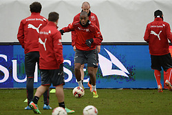 04.03.2014, AFG Arena, St. Gallen, SUI, Training der Schweizer Nationalmannschaft, vor dem Testspiel gegen Kroatien, im Bild Gelson Fernandes (SUI) // during a practice session of swiss national football team prior to the international frindley against Croatia at the AFG Arena in St. Gallen, Switzerland on 2014/03/04. EXPA Pictures © 2014, PhotoCredit: EXPA/ Freshfocus/ Andy Mueller<br /> <br /> *****ATTENTION - for AUT, SLO, CRO, SRB, BIH, MAZ only*****