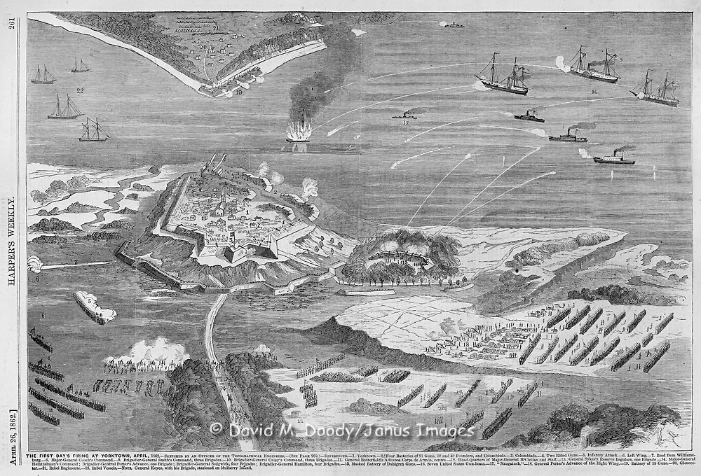 Civil War: Aerial perspective view from Yorktown over the York River to Gloucester Point April 1862 Battle of Yorktown, Virginia Harper's Weekly April 26, 1862. Union Army's Virginia Peninsula Campaign to take Richmond.