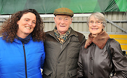 Siobhan Horgan pictured with her Uncle Stephen and Brigin Walsh at the rugby cup final.<br /> Pic Conor McKeown