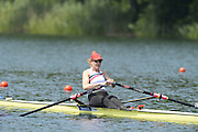 Lucerne. Switzerland.  USA W1X, Eleanor LOGAN, at the start of the Women's Single Sculls Heat at the FISA WC III. 12:48:03  Friday  12/07/2013  [Mandatory Credit, Peter Spurrier/ Intersport Images] Lake Rotsee,