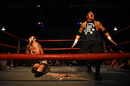 "Steve ""Monsta"" Mack lets out a roar after taking down Johnny Gargano at the Beyond Wrestling Organization's ""Dream Left Behind"" event, held at the Center for Arts at the Armory in Somerville, Sunday, Jan. 31, 2016."