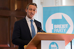 © Licensed to London News Pictures. 23/04/2019. London, UK. James Glancy, a candidate of Brexit party, speaking at a Brexit Party candidate launch event in London. Nigel Farage launched his new political party, the Brexit Party earlier this month, to campaign for the European elections. Photo credit: Vickie Flores/LNP
