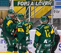 2020-01-17 | Umeå, Sweden:Björklöven (90) Alex Hutchings score 5-2 to IF Björklöven in HockeyAllsvenskan during the game  between Björklöven and Timrå at A3 Arena ( Photo by: Michael Lundström | Swe Press Photo )<br /> <br /> Keywords: Umeå, Hockey, HockeyAllsvenskan, A3 Arena, Björklöven, Timrå, mlbt200117, happy happiness celebration celebrates