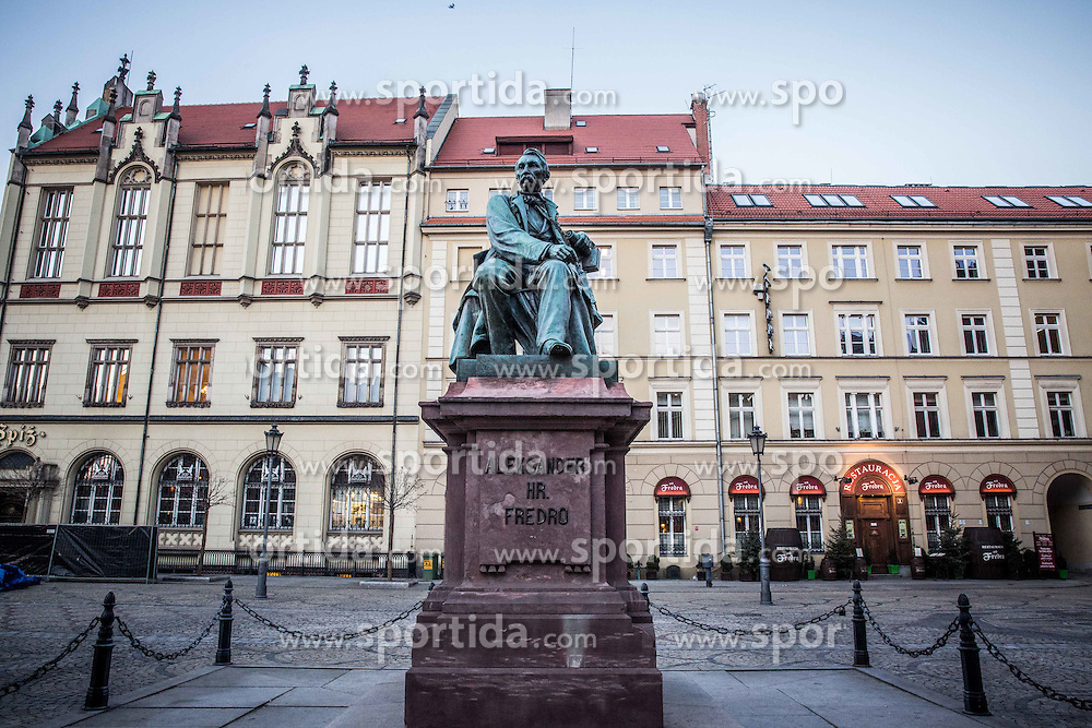Aleksander Fredro's statue in City centre of Wroclaw, on January 19, 2016 in Wroclaw, Poland. Photo by Vid Ponikvar / Sportida