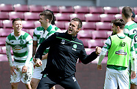 30/04/16 LADBROKES PREMIERSHIP<br /> HEARTS v CELTIC<br /> TYNECASTLE - EDINBURGH<br /> Celtic manager Ronny Deila celebrates after the match