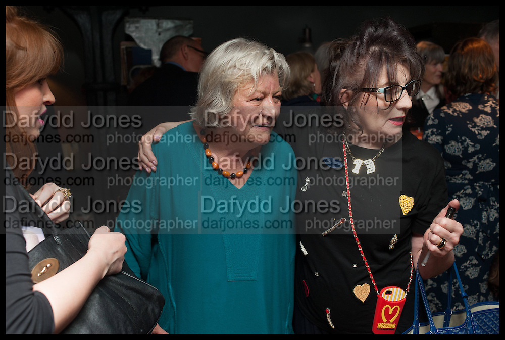LYNN BARBER; SANDRA ESQUILANT, Lynn Barber celebrates her 70th birthday and the publiction of ' A Curious Career. Hixter, 9a Devonshire Sq. London. 8 May 2014.