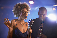 Jazz Singer and Saxophonist Performing