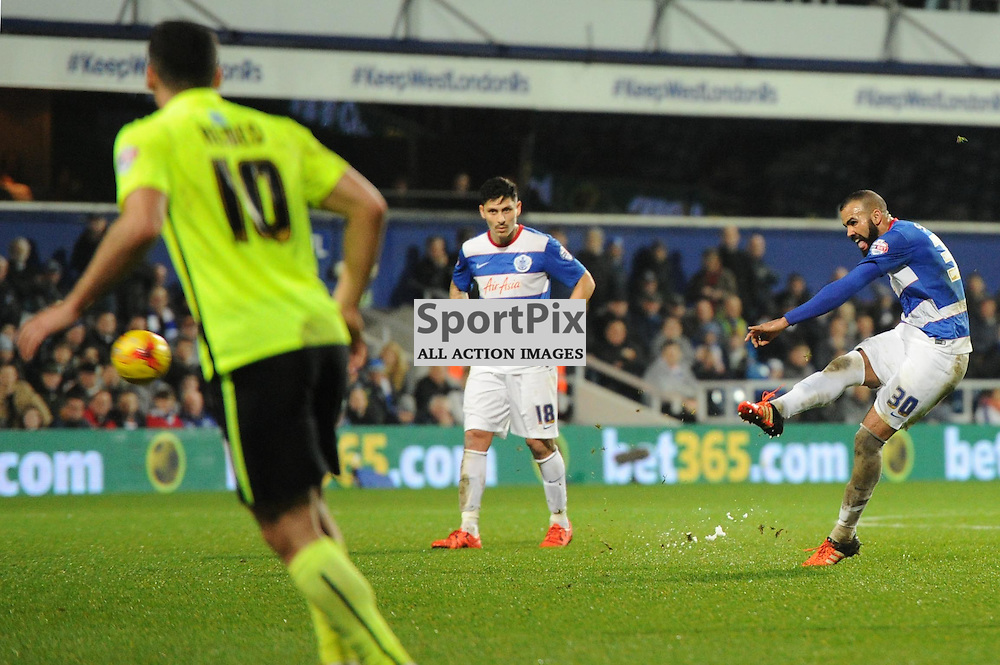 QPRs Sandro takes a free kick during the Queens Park Rangers v Brighton & Hove Albion game in the  Sky Bet Championship on Tuesday 15th Decemeber 2015 at Loftus Road.