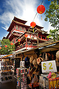 Shops selling cheap souvenirs, in front of Buddha Tooth Relic Temple and Museum, Singapore
