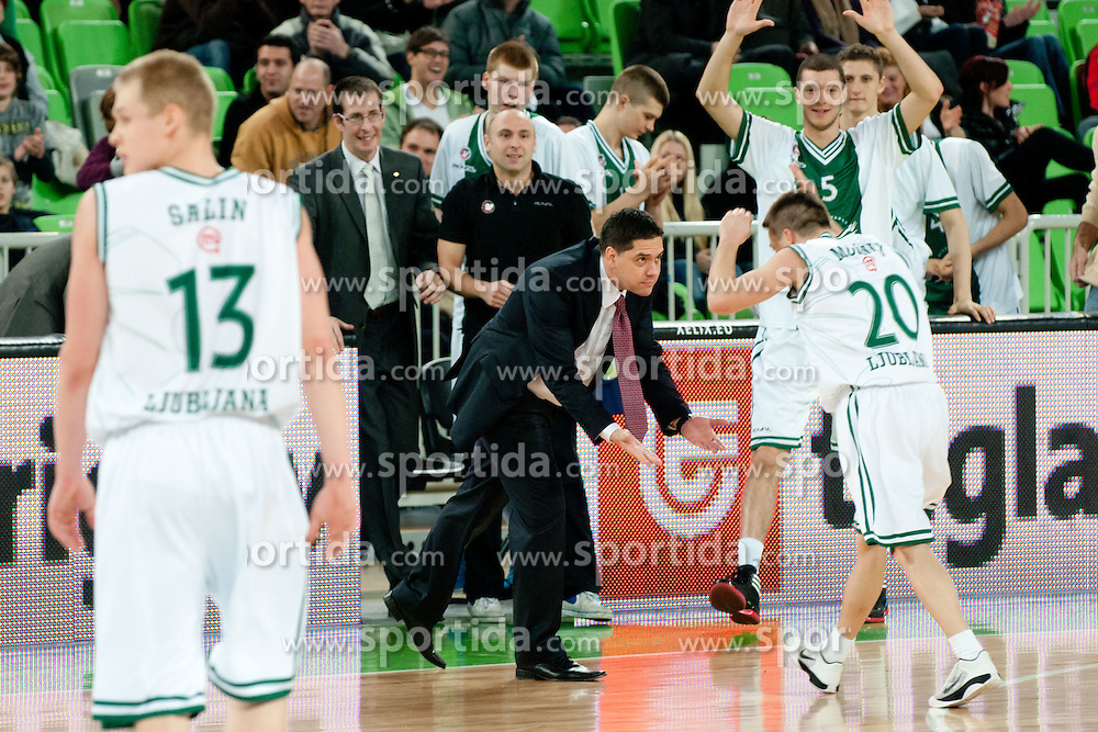 Jan Mocnik of Union Olimpija and Saso Filipovski, head coach of Union Olimpija, celebrate during basketball match between KK Union Olimpija and Unics Kazan (RUS) of 10th Round in Group D of Regular season of Euroleague 2011/2012 on December 21, 2011, in Arena Stozice, Ljubljana, Slovenia. (Photo by Matic Klansek Velej / Sportida)