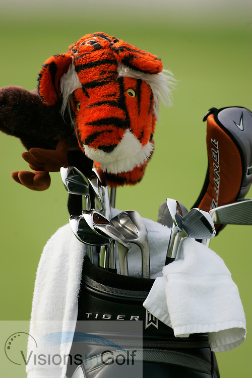 Tiger Woods bag with head cover and irons<br />