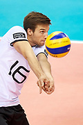 Poland, Krakow - 2017 September 03: Julian Zenger from Germany receives the ball while final match between Germany and Russia during Lotto Eurovolleyball Poland 2017 - European Championships in volleyball at Tauron Arena on September 03, 2017 in Krakow, Poland.<br /> <br /> Mandatory credit:<br /> Photo by &copy; Adam Nurkiewicz<br /> <br /> Adam Nurkiewicz declares that he has no rights to the image of people at the photographs of his authorship.<br /> <br /> Picture also available in RAW (NEF) or TIFF format on special request.<br /> <br /> Any editorial, commercial or promotional use requires written permission from the author of image.