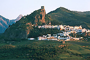 SPAIN, ANDALUSIA ZAHARA; a picturesque 'pueblo blanco' or white village, near Ronda with its Moorish castle on the rock