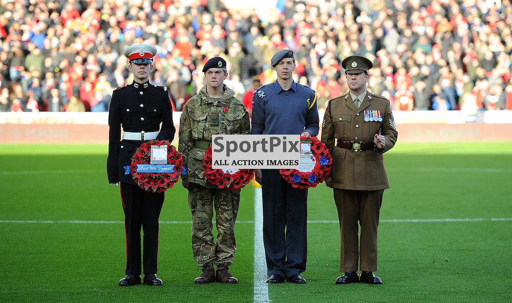 The forces before a minutes remembrance before Nottingham Forest vs Queens Park Rangers, Championship, 5.11.16 (c) Harriet Lander | SportPix.org.uk