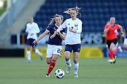 Margarita Yushko (#7) of Belarus passes the ball back under pressure from Erin Cuthbert (#22) of Scotland during the FIFA Women's World Cup UEFA Qualifier match between Scotland Women and Belarus Women at Falkirk Stadium, Falkirk, Scotland on 7 June 2018. Picture by Craig Doyle.
