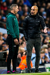 Manchester City manager Pep Guardiola argues with the fourth official - Mandatory by-line: Robbie Stephenson/JMP - 22/10/2019 - FOOTBALL - Etihad Stadium - Manchester, England - Manchester City v Atalanta - UEFA Champions League Group Stage