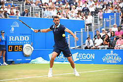 June 24, 2017 - London, England, United Kingdom - Marin Cilic of Croatia plays a backhand during the mens singles semi-final match against Gilles Muller of Luxembourg on day six of the 2017 Aegon Championships at Queens Club on June 24, 2017 in London, England. (Credit Image: © Alberto Pezzali/NurPhoto via ZUMA Press)