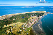 Nederland, Friesland, Vlieland, 28-02-2016; Oost-Vlieland met Waddendijk. Terschelling met Noordzee in de achtergrond.<br /> Wadden island Vlieland and Oost-Vlieland village, Wadden sea. <br /> luchtfoto (toeslag op standard tarieven);<br /> aerial photo (additional fee required);<br /> copyright foto/photo Siebe Swart