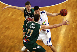 Goran Dragic, Hasan Rizvic of Olimpija and Marijan Mance of Helios at 7th round of Slovenian basketball Championship at UPC Telemach league between Helios Domzale vs Union Olimpija, on April 16, 2008, in Sports Arena in Domzale. Olimpija won the match 93:76. (Photo by Vid Ponikvar / Sportal Images)